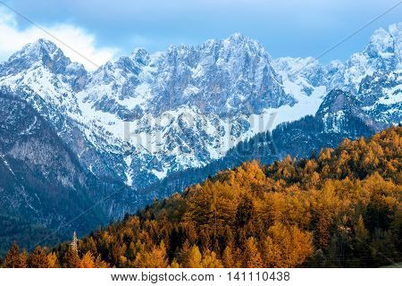 Beautiful landscape view with snowed up mountains in Triglav national park in Slovenia. Traveling slovenian Alps