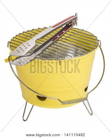 Portable bbq and tong isolated on white
