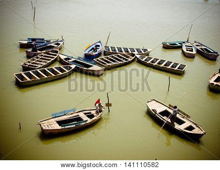 Boats On Ganges, Uttar Pradesh, India