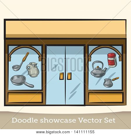 Doodle showcase dishes vector set. For registration of the online store, invitations, magazines. For print and the web.