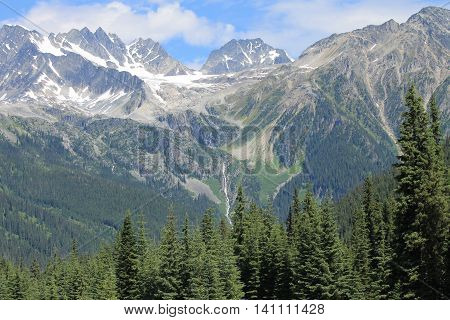 Summit of mountains in Rogers Pass Canada