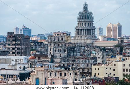 View Of The Capitolio And Surroundings In Havana, Cuba