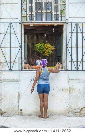 HAVANA CUBA - JULY 18 : A Fruit store in old Havana street on July 18 2016. The historic center of Havana is UNESCO World Heritage Site since 1982.