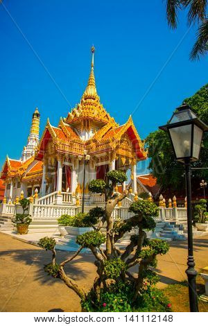 Buddhistic Temple.beautiful Religious Building Is White With Gilding. Ayutthaya. Thailand.