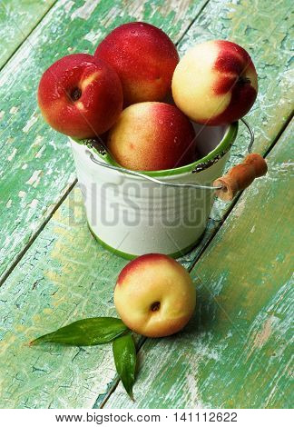 Heap of Perfect Ripe Small Nectarines in White Garden Bucket closeup on Green Wooden background