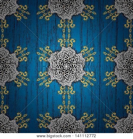 Vintage pattern on blue background with golden elements. Vector illustration.