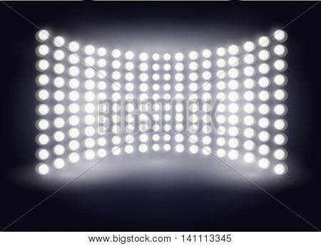 Empty scene poster template with shining spotlights. Large multimedia screen. Vector illustration EPS10