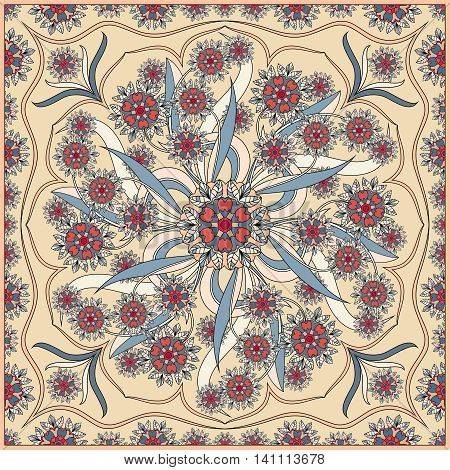 Detailed floral pattern for scarf, shawl, carpet or embroidery. Beige background. Vector illustration.