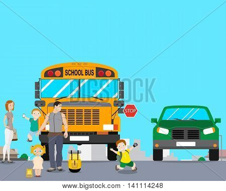 School bus arrived an excursion and the children after the landing began to play and run out into the roadway. Vector illustration