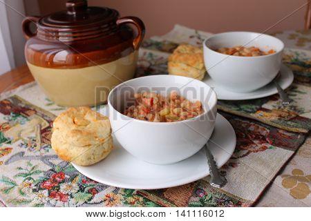 Bean pot and bowls - selective focus