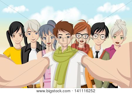 Group of cartoon young people taking selfie photo. Picture of manga anime teenagers.