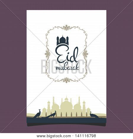 Eid mubarak poster. Illustration of Ramadan Kareem with Arabic mosque and garden with peacocks for the celebration of Muslim community festival. Hand write with a floral frame specially for Ramadan.