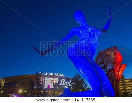 LAS VEGAS - JUNE 14 : The Bliss Dance Sculpture display at the T-Mobile park in Las Vegas on June 14 2016. The 40-foot-tall sculpture of a dancing woman created by artist Marco Cochrane.