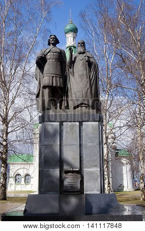 Monument to the founder of Nizhny Novgorod - George Vsevolodovich and Bishop Simon in the territory of the Nizhny Novgorod Kremlin. Russia