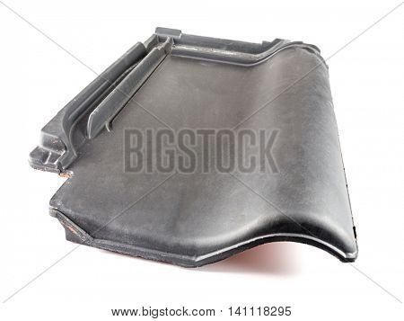 Ceramic charcoal roof tile on white