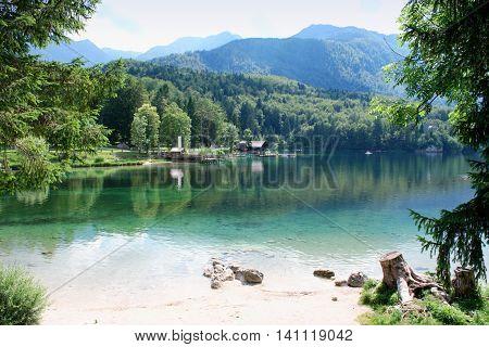 Beautiful view on Lake mountain with reflection. Lake Bohinj. Slovenia