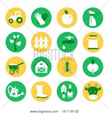 Farm and ranch. Gardening vector icons set
