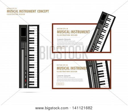 Keyboard, Musical Instrument Design Realistic Style And Banner Layout For Commercial Vector.