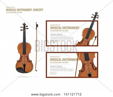Violin, Musical Instrument Design Realistic Style And Banner Layout For Commercial Vector.