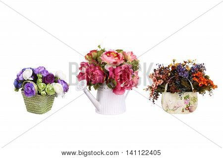 Spring flowers decor set isolated on white