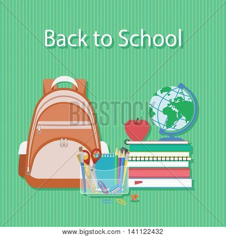 Back to school text. Textbooks, alarm clock, schoolbag, globe, stationery, pencils, scissors, ruler. Schooling Flat concept background. Vector illustration.