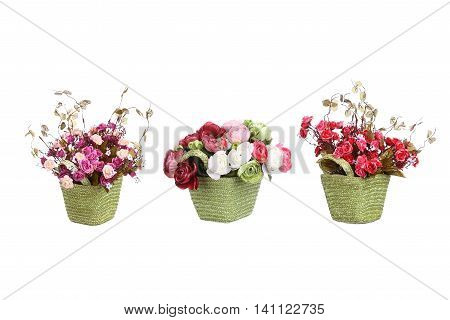 Spring flowers in basket decor set isolated on white