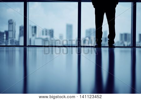 Cropped image of business person looking at big city through the window