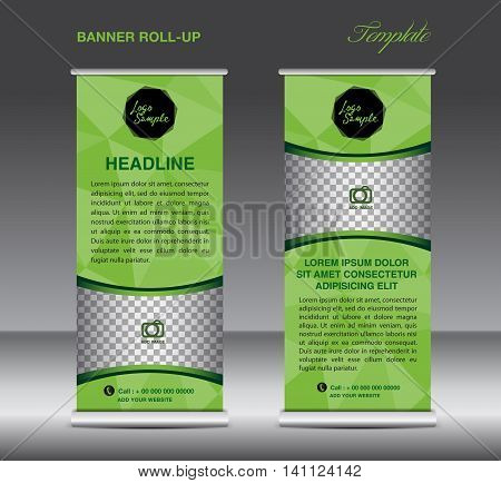 Green Roll up banner template vector polygon background roll up stand display banner design flyer advertisement