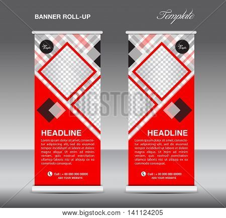 Red Roll up banner template vector roll up stand display banner design poster flyer advertisement