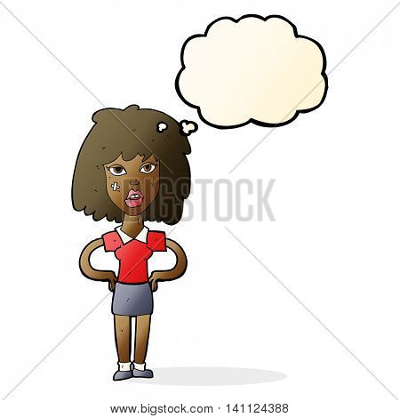 cartoon tough woman with thought bubble