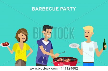 Vector character people on picnic or Bbq party. Food and barbeque. Chef men cooking steaks on grill.