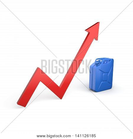 3D rendering canister arrow symbolizing the rising fuel prices