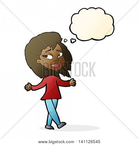 stress free woman cartoon with thought bubble