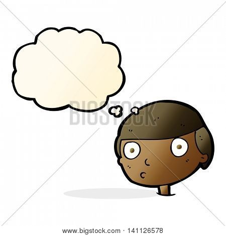 cartoon boy staring with thought bubble