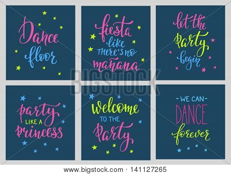 Party signs set Bridal shower Hen Birthday Wedding lettering sign quote typography. Calligraphy design for postcard poster graphics. Simple vector brush sign. Dance Party design element