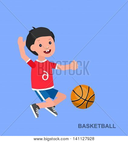 Cute vector character child playing basketball. Happy boy kid illustration