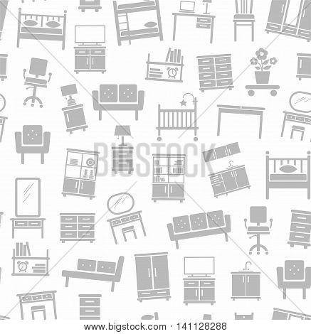 Furniture for house, background, seamless, white. Vector flat background with images of upholstered and Cabinet furniture. Gray image on a white background.