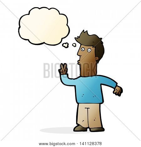 cartoon man signalling with hand with thought bubble