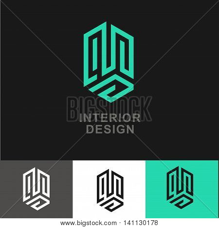 Business Icon - Vector logo design template. Abstract emblem for interior design, real estate interior improve, apartment dwelling