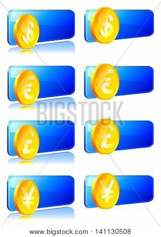 Set decals with the currency symbol. Vector illustration