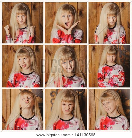 Young blond girl doing facial expressions on brow background.