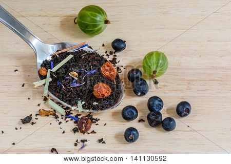 Fruit black tea with blueberry and gooseberry. It is tasty healthy and very flavored