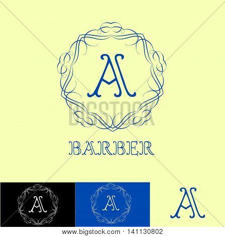 Monogram logo template with  calligraphic elegant ornament. Identity design with letter A for shop, store or restaurant, heraldic, barbershop or barber, beauty salon, justic lawyer, boutique or hotel