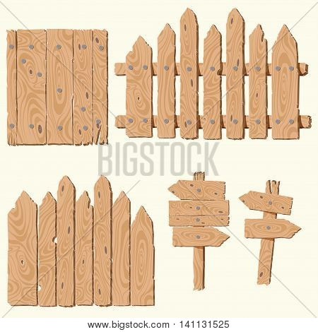 Set of empty, blank wooden planks or boards, guidepost, fence, with cracks and knots and with nails, you can simply regrouped elements depends on your needs, vector