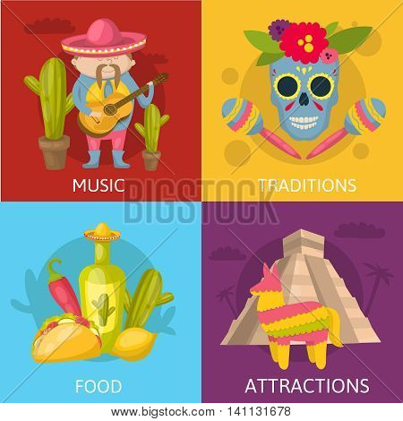 Mexican colored compositions four square icon set with music traditions food and attractions descriptions vector illustration