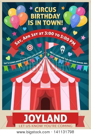 Amusement park poster with circus tent garland of flags red ribbons on blue rays background vector illustration