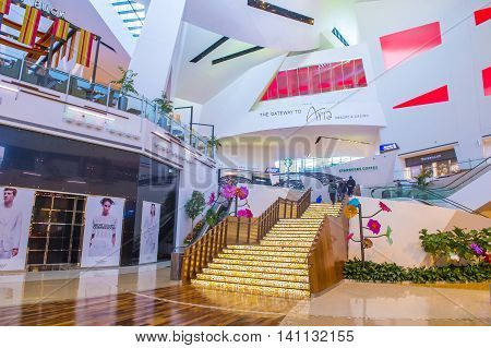 LAS VEGAS - MAY 21 : The Crystals mall in Las Vegas strip on May 21 2016. Crystals offers 500000 sq ft of retail space including gourmet restaurants shops and galleries.