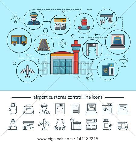 Airport service concept with customs and security control infographics on blue background linear icons isolated vector illustration