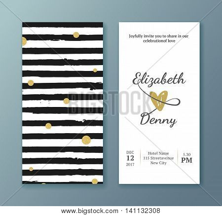 Wedding Invitation. Luxury invitation on gold pattern. Black lines with gold dots.