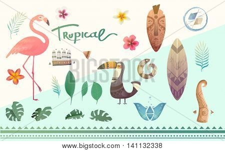 Vector set tropical plants and animals. Tropical flowers and leaves. Illustrations can be used on the cover, flyers, printing, fabric, books.